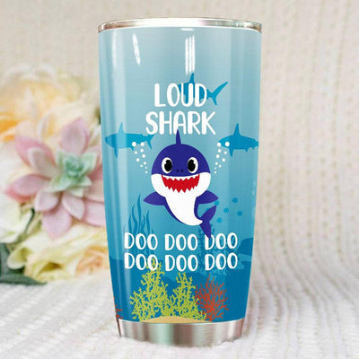 BigProStore Funny Loud Shark Doo Doo Doo Tumbler Cute Shark Baby Womens Custom Father's Day Mother's Day Gift Idea BPS616 White / 20oz Steel Tumbler