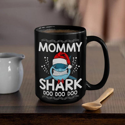 BigProStore Funny Mommy Shark Doo Doo Doo Coffee Mug Shark Wearing Santa Hat Womens Custom Father's Day Mother's Day Christmas Gift Idea BPS234 Black / 15oz Coffee Mug