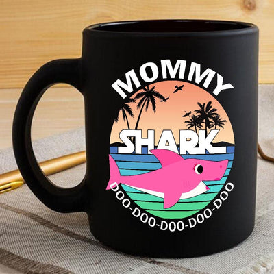 BigProStore Funny Mommy Shark Doo Doo Doo Coffee Mug Summer Beach Womens Custom Father's Day Mother's Day Gift Idea BPS749 Black / 11oz Coffee Mug