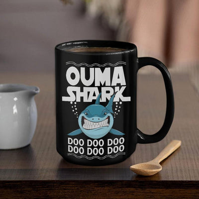 BigProStore Funny Ouma Shark Doo Doo Doo Coffee Mug Womens Custom Father's Day Mother's Day Gift Idea BPS516 Black / 15oz Coffee Mug