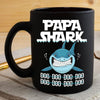 BigProStore Funny Papa Shark Doo Doo Doo Coffee Mug Mens Custom Father's Day Mother's Day Gift Idea BPS491 Black / 11oz Coffee Mug