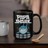 BigProStore Funny Papa Shark Doo Doo Doo Coffee Mug Mens Custom Father's Day Mother's Day Gift Idea BPS491 Black / 15oz Coffee Mug