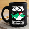 BigProStore Funny Papa Shark Doo Doo Doo Coffee Mug Shark Wearing Santa Hat Mens Custom Father's Day Mother's Day Christmas Gift Idea BPS743 Black / 11oz Coffee Mug