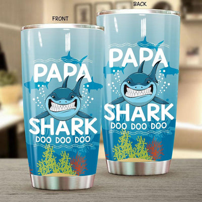 BigProStore Funny Papa Shark Doo Doo Doo Tumbler Mens Custom Father's Day Mother's Day Gift Idea BPS196 White / 20oz Steel Tumbler