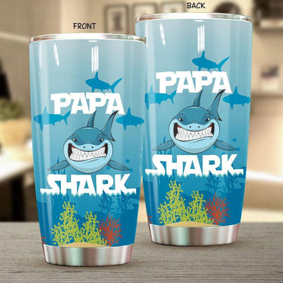 BigProStore Funny Papa Shark Tumbler Mens Custom Father's Day Mother's Day Gift Idea BPS121 White / 20oz Steel Tumbler