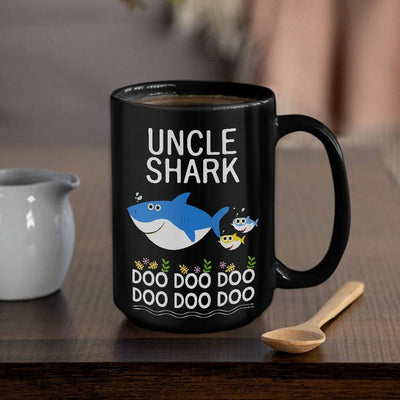 BigProStore Funny Uncle Shark Doo Doo Doo Coffee Mug Mens Custom Father's Day Mother's Day Gift Idea BPS950 Black / 15oz Coffee Mug
