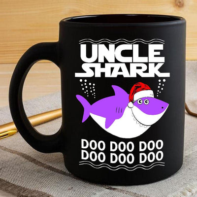 BigProStore Funny Uncle Shark Doo Doo Doo Coffee Mug Shark Wearing Santa Hat Mens Custom Father's Day Mother's Day Christmas Gift Idea BPS442 Black / 11oz Coffee Mug