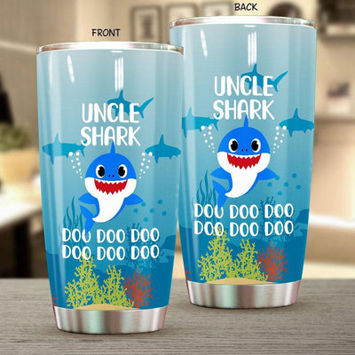 BigProStore Funny Uncle Shark Doo Doo Doo Tumbler Cute Shark Baby Mens Custom Father's Day Mother's Day Gift Idea BPS700 White / 20oz Steel Tumbler