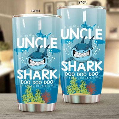 BigProStore Funny Uncle Shark Doo Doo Doo Tumbler Mens Custom Father's Day Mother's Day Gift Idea BPS968 White / 20oz Steel Tumbler