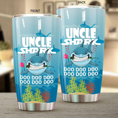 BigProStore Funny Uncle Shark Doo Doo Doo Tumbler Shark And Rose Mens Custom Father's Day Mother's Day Gift Idea BPS457 White / 20oz Steel Tumbler