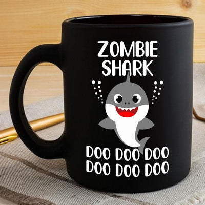 BigProStore Funny Zombie Shark Doo Doo Doo Coffee Mug Cute Shark Baby Womens Custom Father's Day Mother's Day Gift Idea BPS970 Black / 11oz Coffee Mug