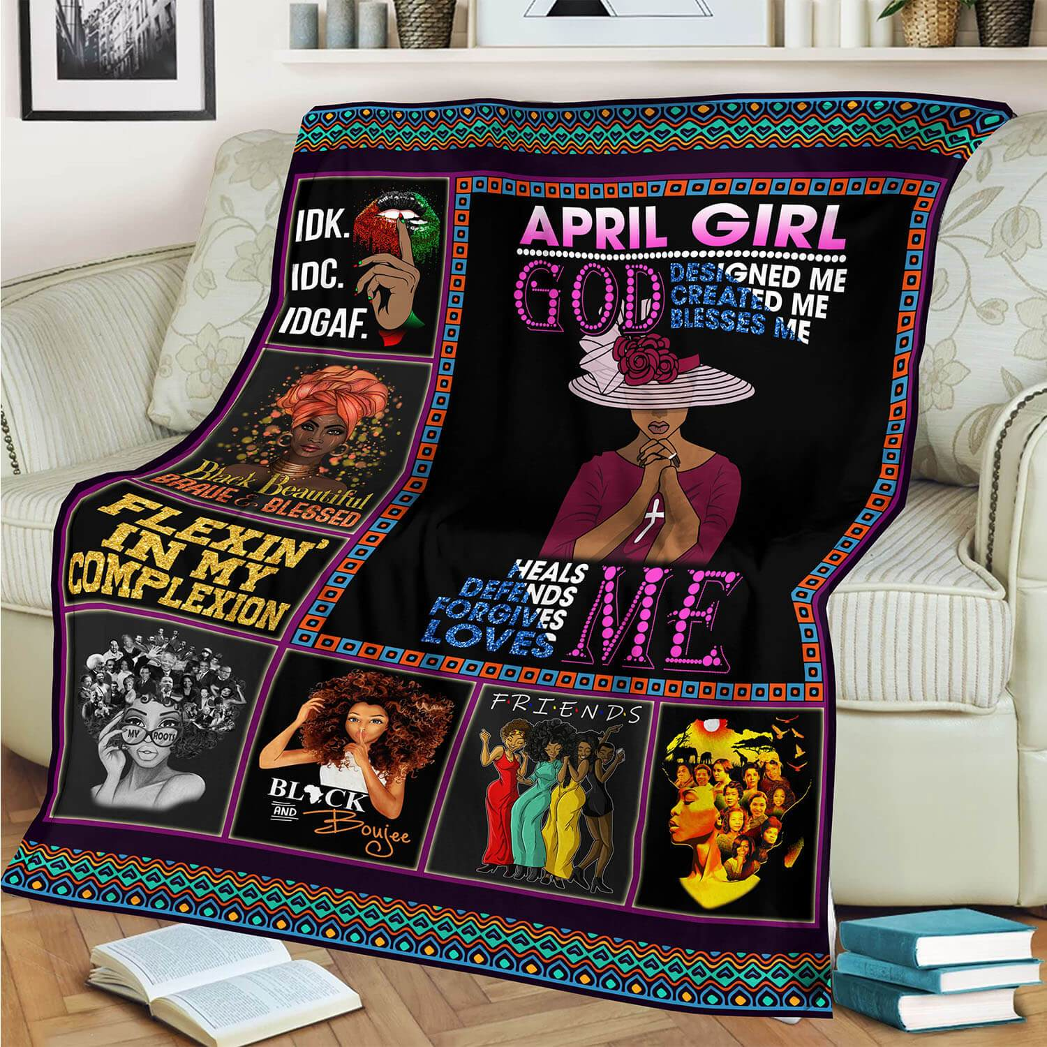 April Girl God Designed Created Blesses Me Blanket