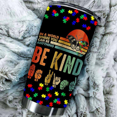 BigProStore In A World Where You Can Be Anything Be Kind Butterfly Retro Tumbler BPS303 Black / 20oz Steel Tumbler