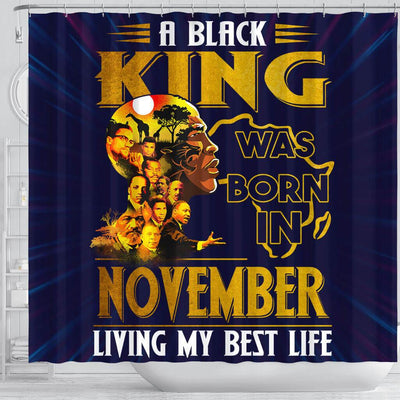 BigProStore Inspired A Black King Was Born In November African American Bathroom Shower Curtains Afrocentric Bathroom Decor BPS218 Shower Curtain