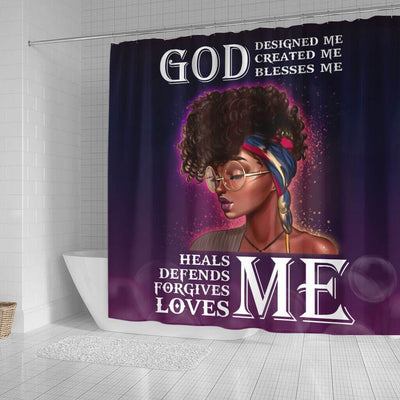 BigProStore Inspired Afro Girl God Designed Created Blessed Heals Defends Forgives Loves Me African American Themed Shower Curtains Afrocentric Bathroom Decor BPS019 Small (165x180cm | 65x72in) Shower Curtain