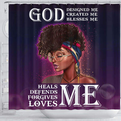 BigProStore Inspired Afro Girl God Designed Created Blessed Heals Defends Forgives Loves Me African American Themed Shower Curtains Afrocentric Bathroom Decor BPS019 Shower Curtain