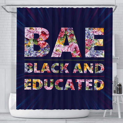 BigProStore Inspired BAE Black And Educated Flower Art Black History Shower Curtains African Bathroom Accessories BPS052 Small (165x180cm | 65x72in) Shower Curtain