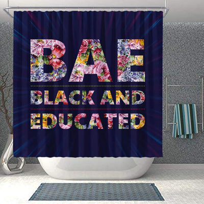 BigProStore Inspired BAE Black And Educated Flower Art Black History Shower Curtains African Bathroom Accessories BPS052 Shower Curtain