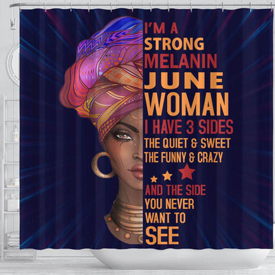 BigProStore Inspired I Am A Strong Melanin June Woman Afro Girl African American Art Shower Curtains Afrocentric Bathroom Decor BPS058 Shower Curtain