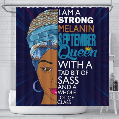 BigProStore Inspired I Am A Strong Melanin September Queen Afrocentric Shower Curtains Afrocentric Bathroom Decor BPS072 Small (165x180cm | 65x72in) Shower Curtain