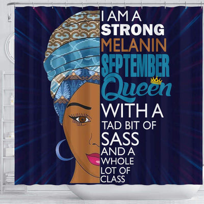 BigProStore Inspired I Am A Strong Melanin September Queen Afrocentric Shower Curtains Afrocentric Bathroom Decor BPS072 Shower Curtain