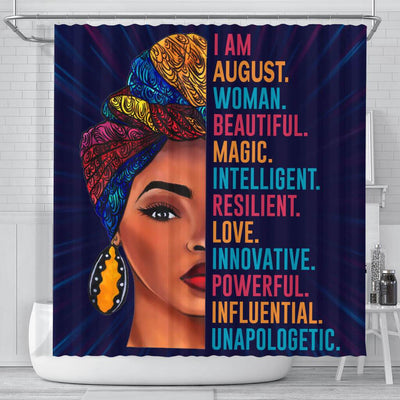 BigProStore Inspired I Am August Woman Beautiful Magic African Style Shower Curtains Afro Bathroom Decor BPS091 Small (165x180cm | 65x72in) Shower Curtain