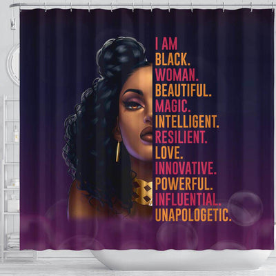 BigProStore Inspired I Am Black Woman Beautiful Magic Afro Girl African American Shower Curtain Afro Bathroom Decor BPS131 Shower Curtain