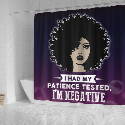 BigProStore Inspired I Had My Patience Tested I'm Negative African American Shower Curtain Afro Bathroom Accessories BPS136 Small (165x180cm | 65x72in) Shower Curtain