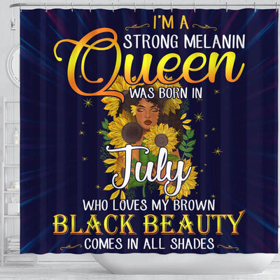 BigProStore Inspired I'm A Strong Melanin July Queen Sunflower African American Themed Shower Curtains African Style Designs BPS116 Shower Curtain