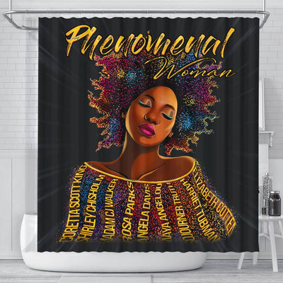 BigProStore Inspired Phenomenal Woman Afro Girl Art Shower Curtains African American African Bathroom Accessories BPS189 Small (165x180cm | 65x72in) Shower Curtain