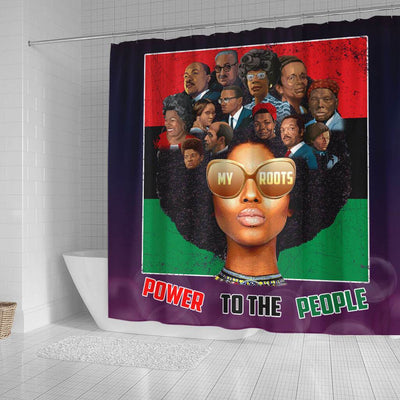 BigProStore Inspired PowerTo The People My Roots Afro Art Black History Shower Curtains Afro Bathroom Decor BPS191 Small (165x180cm | 65x72in) Shower Curtain