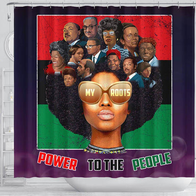 BigProStore Inspired PowerTo The People My Roots Afro Art Black History Shower Curtains Afro Bathroom Decor BPS191 Shower Curtain