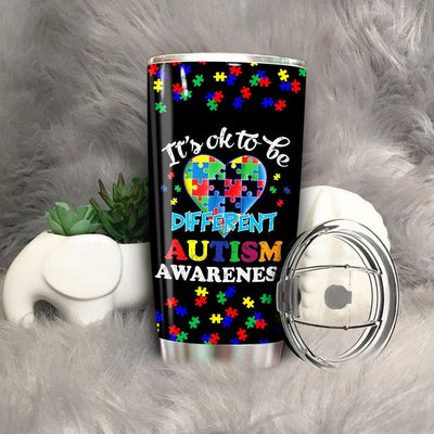 BigProStore It's OK To Be Different Autism Awareness Tumbler Idea Gift 2019 BPS536 Black / 20oz Steel Tumbler