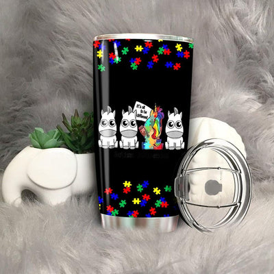 BigProStore It's ok to be different Autism Awareness Unicorn Gift Tumbler Idea BPS141 Black / 20oz Steel Tumbler