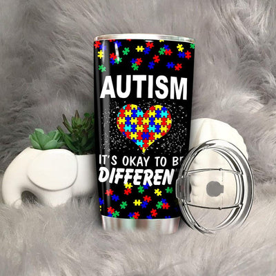 BigProStore It's okay to be different Autism Awareness Premium Tumbler BPS817 Black / 20oz Steel Tumbler
