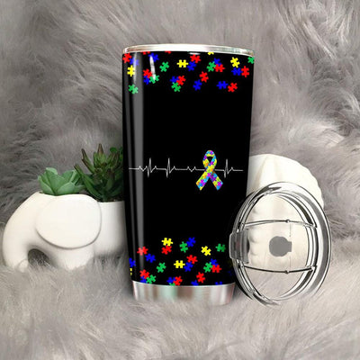 BigProStore Love Autism Funny Autism Heartbeat With True Color Tumbler BPS794 Black / 20oz Steel Tumbler