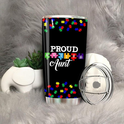 BigProStore Love Puzzles Autism Awareness Tumbler Ideas Autistic Support Gifts BPS297 Black / 20oz Steel Tumbler