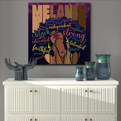 BigProStore African American Framed Wall Art Melanin Powerful Words Afro Women Black Girl Gift Afrocentric Home Decor BPS7722 Square Canvas