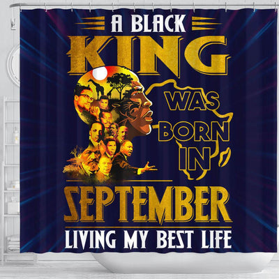 BigProStore Melanin A Black King Was Born In September African Style Shower Curtains Afrocentric Bathroom Decor BPS222 Shower Curtain