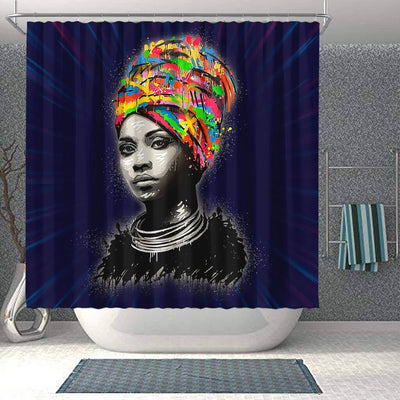 BigProStore Melanin Black Woman Art Beautiful Girl African American Bathroom Shower Curtains Afrocentric Bathroom Accessories BPS098 Shower Curtain