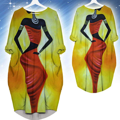 BigProStore Melanin Dresses Pretty Afro American Woman Long Sleeve Pocket Dress Afrocentric Clothing BPS50251 S (4-6 US)(8 UK) Women Dress