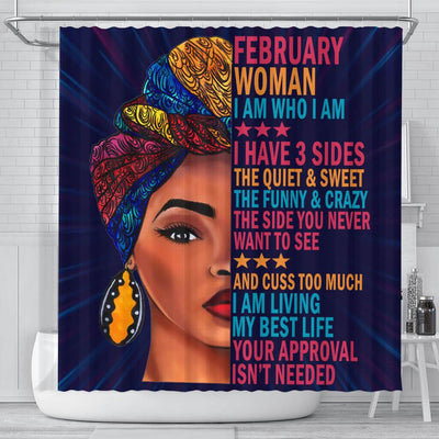 BigProStore Melanin February Woman I Have 3 Sides I Live My Best Life Your Approval Isn't Needed African American Shower Curtain African Bathroom Decor BPS028 Small (165x180cm | 65x72in) Shower Curtain