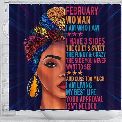 BigProStore Melanin February Woman I Have 3 Sides I Live My Best Life Your Approval Isn't Needed African American Shower Curtain African Bathroom Decor BPS028 Shower Curtain