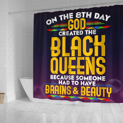 BigProStore Melanin On The 8Th Day God Created The Black Queen Afrocentric Shower Curtains Afrocentric Style Designs BPS187 Small (165x180cm | 65x72in) Shower Curtain