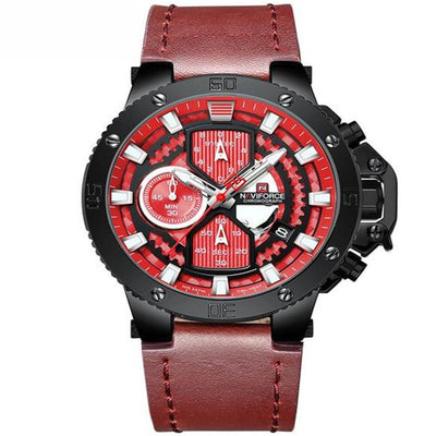 BigProStore Men Red Firefighter Watch Sport Leather Chronograph Firemen Wristwatch Wristwatch