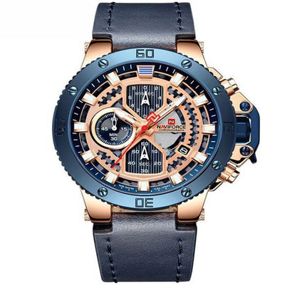 BigProStore Men Red Firefighter Watch Sport Leather Chronograph Firemen Wristwatch Blue Wristwatch