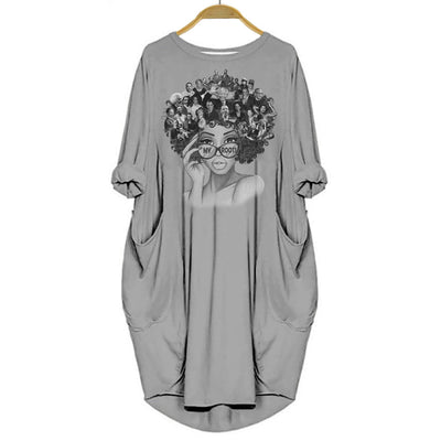 BigProStore My Roots Shirt Melanin Women Dress for Black Girls Gray / S (4-6 US)(8 UK) Women Dress