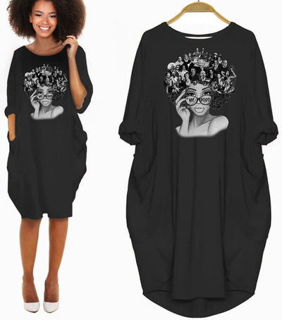 BigProStore African Women Dresses My Roots Shirts Famous African Americans Leaders Afrocentric Design Melanin Long Sleeve Women Dress Black History Gift Ideas Black / S (4-6 US)(8 UK) Women Dress