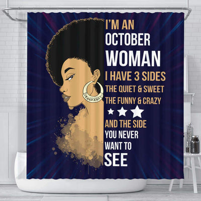 BigProStore Nice Afro Girl I'm A October Woman Shower Curtains African American African Bathroom Decor BPS025 Small (165x180cm | 65x72in) Shower Curtain