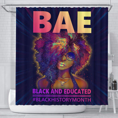 BigProStore Nice BAE Black And Educated #Blackhistorymonth African American Print Shower Curtains Afrocentric Bathroom Decor BPS049 Small (165x180cm | 65x72in) Shower Curtain